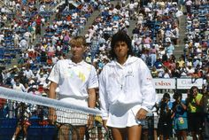 Steffi Graf (left) and Sabatini pose for photographers prior to their Ladies Championship Final at the 1990 US Open. Even though Sabatini upset Steffi in this match, Steffi could handle Sabatini for the most part. Steffi owned Sabatini in Grand Slam matches, beating Sabatini 11 out of 12 times in Slam competition. Sabatini was a good player, but she proved to be Steffi's lap-dog, especially at the Grand Slams.