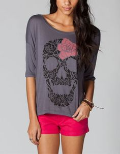 LIRA Floral Skull Womens Tee  $25.99 tillys
