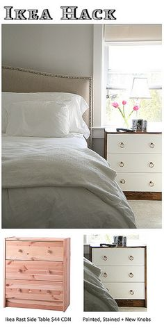 IKEA hack dresser --> nightstand. I could go this with the ones I have