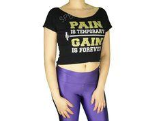 Blusas Femininas | Blusa Cropped Costas Rasgadas Pain Is Temporary Gain Is Forever Preta  Acesse: http://www.spbolsas.com.br/atacado/ #Regatas #Femininas #Atacado