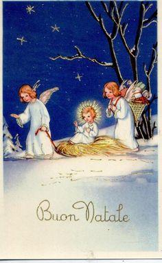 Darling Vintage Christmas Card! Angels & Little Jesus
