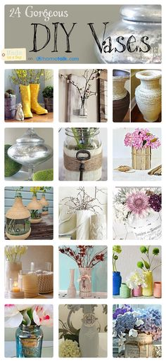 Hometalk DIY Vase Ideas, I joined up with Hometalk to share one of my Inspiration Boards DIY Vase Ideas, painting mason jars, twine wrapped fabric wine jugs
