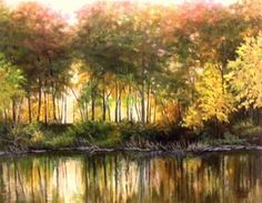 """""""Glowing Light II"""" 14x11 inch. OIL,PAINTING. Another autumn landscape with reflected light and the magic of color! Oil on linen panel. Ready to frame and hang! Published via ArtLoupe. #IMPRESSIONISTIC #LANDSCAPE #TRADITIONAL"""