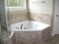 Corner Garden Tub   Perfect For Soaking In Peace   Ceramic Tile Surround.