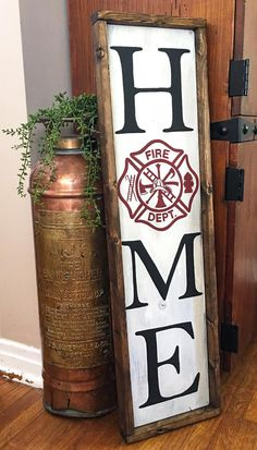 Wood Signs For Home, Diy Wood Signs, Home Signs, Painted Wood Signs, Firefighter Home Decor, Firefighter Family, Firefighter Engagement, Firefighter Tattoos, Firefighter Birthday