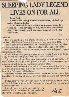 """Sleeping Lady Legend of Alaska"" Living In Alaska, Ancient Ruins, Mind Blown, Spelling, Need To Know, Sleep, Lady, American Art, Native American"