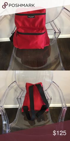 Kate Spade Nylon Backpack- Red Red Kate Spade backpack with adjustable straps in mint condition kate spade Bags Backpacks