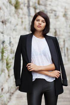 tux jacket, sheer white tee & leather pants #style #fashion #badlands #bob
