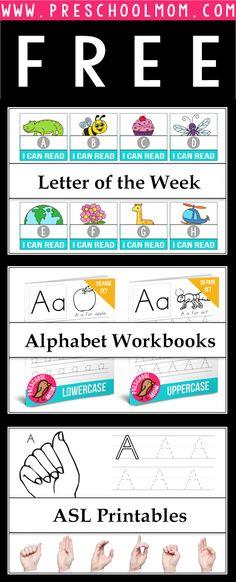 Tons of Free Alphabet Printables. Great for Letter of the Week Activities for Preschool or Kindergarten.