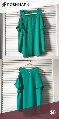 Green blue off the shoulder blouse Hanging sleeve blouse with silver neck chain Tops Blouses