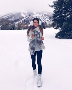 Banana Republic earmuffs | Khombu snow boots--on sale! (also love these boots and these boots) | Free People scarf | Leggings