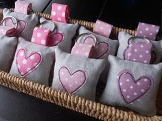Heart Applique Keyring/Bag Charm - Shades of Pink