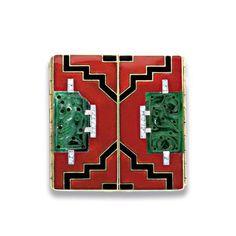 Art Deco Gold, Enamel, Carved Jade and Diamond Pill Box, Cartier  14 kt., signed Cartier, 32.6 dwt.