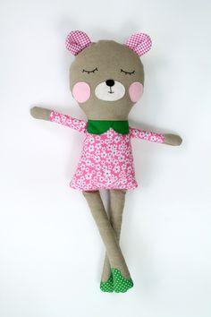 17 inch Handmade Fabric Bear Doll by LiaAndLucy on Etsy