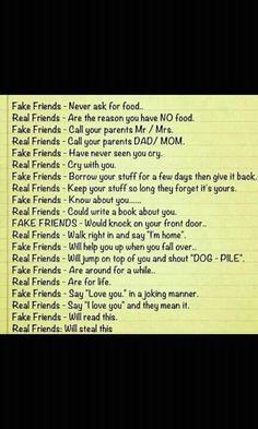Real friends vs. Fake friends