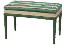 Ruby Beets - Upholstered Faux-Bamboo Bench #bench #bamboo #green #stripes