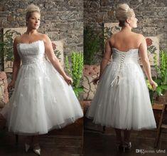 Wholesale Elie Saab - Buy Elegant Vintage Strapless Lace Bodice Tulle A-line Lace Up Custom Made Tea Length Plus Size Wedding Dress Bridal Gown For Big Women RI356, $123.31 | DHgate