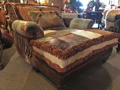 Callie Patchwork Leather/ Cowhide Chaise Western Furniture, Country Furniture, Living Room Furniture, Oversized Chaise Lounge, Western Living Rooms, Chaise Chair, Cedar Homes, Western Homes, Rustic Chic