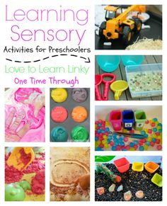 I decided to feature 5 terrific sensory ideas that all allow kids to LEARN while they play - or learning sensory activities! Sensory Activities For Preschoolers, Preschool Science, Infant Activities, Toddler Preschool, Preschool Activities, Preschool Class, Children Activities, Sensory Bins, Sensory Play