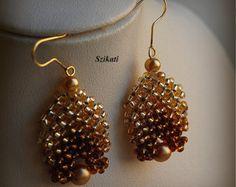 Elegant Teal Pearl/Seed Bead Brooch Art Beadwork 3D RAW by Szikati