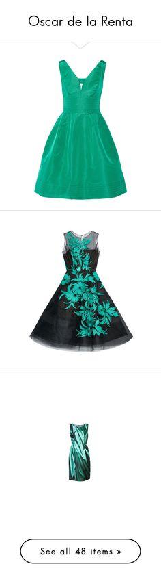"""Oscar de la Renta"" by nefertiti1373 on Polyvore featuring dresses, green, silk dress, cocktail party dress, green skater skirt, holiday party dresses, green circle skirt, green dress, structured dress and panel dress"