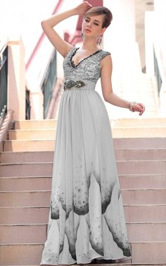 Grey Sexy Sleeveless Pleated Floor Length Gowns Evening Dress