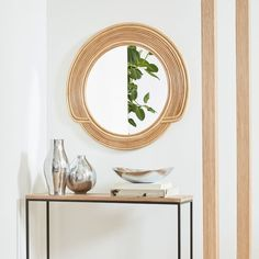 This circular frame is made of natural rattan for an authentic feel, and the mirrored glass is large enough to confirm that your entire outfit is ready for the whole world to see. Sun Mirror, Mirror Tiles, Bathroom Furniture, Furniture Decor, Mirror Crafts, Entryway Mirror, Oversized Furniture, Desert Sun, Metal Vase