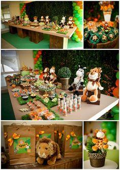 A primeira festa de aniversário carioca no site! Começamos bem, com uma decoração linda no tema safari para a festinha do Igor: Fotos: Paulo Herédia   Deco