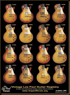 The Les Paul Forum Vintage Les Paul Guitar Registry Poster Edition - 2004 This is simply Guitar porn for Les Paul players! Guitar Art, Music Guitar, Guitar Chords, Cool Guitar, Vintage Les Paul, Les Paul Guitars, Fender Guitars, Rare Guitars, Famous Guitars
