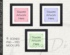 10x10 Set of 3 Black Ornate Square Matted & by TanyDiDesignStudio