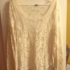 Cream Lacy Top BRAND NEW! Boho lace top size medium Tops Blouses
