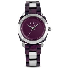 Full Size Purple Square Circle Watch – ELLE Time & Jewelry