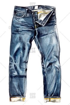 Denim jeans with rolled cuffs and multiple buttons stock photo - OFFSET Jeans Drawing, Drawing Clothes, Fashion Design Drawings, Fashion Sketches, Denim Fashion, Fashion Art, Silhouette Mode, Illustrations Techniques, Illustrations Vintage