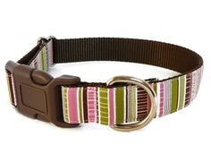 Cute Dog Collar, So Pretty for Girls in Pink, Brown and Green Stripes - Spring Fling (Limited Edition)