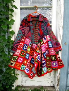 "XL one of a kind OOAK granny square wearable art coat.  ""Let me take you down 'Cause I'm going to Strawberry Fields Nothing is real And nothing to get hung about Strawberry Fields forever Living is easy with eyes closed Misunderstanding all you see It's getting hard to be someone But it all works out It doesn't matter much to me"" - the Beatles, 'Strawberry Fields Forever'  100% recycled deliciousness.  * XL * 39 - 46 inches long (99-117cm) * 44 inch bust (112cm) * 23 inch sleeve (58cm) * zip…"