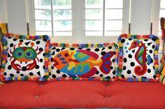 Needlepoint kits into pillows! Needlepoint Designs, Needlepoint Stitches, Needlepoint Pillows, Needlepoint Kits, Needlepoint Canvases, Needlework, Diy Pillows, Decorative Pillows, Fish Pillow