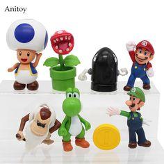 8pcs/set Super Mario Bros Mario Yoshi Luigi PVC Figure Collectible Toy 3-9cm KT4161