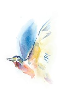 Colorful bird original watercolor painting. Expressive water colour nature water color picture. Unique gift, watercolour wall art for home. Unusual gift for a friend. Mothers day gift.  This is an original expressive, colorful, abstract watercolor painting of a bird. Wildlife, nature, birds art. A unique gift for birthday, for a friend. Drawing, watercolour wall decor for home. It is painted by me on 200 g/m2 watercolor paper. Dated and signed by me, without frame. Painting would be shipped…