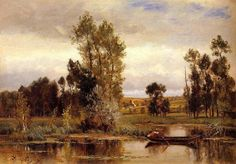 Charles François Daubigny, Barbizon, Boat on a Pond, oil on panel