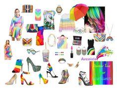 """Fashion Rainbow Look"" by gabiure on Polyvore featuring moda, Skinnydip, Christian Louboutin, Casetify, Full Tilt, Shany, MAC Cosmetics, Mary Katrantzou, ASOS y Moschino"
