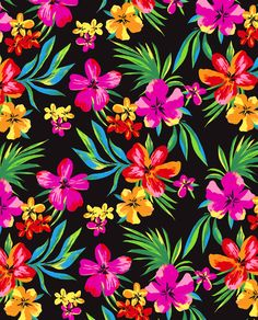 Digitally painted Hawaiian florals repeat by marisa hopkins.