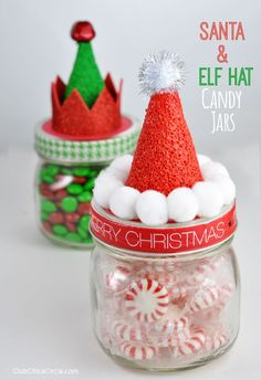 Christmas DIY santa hat and elf hat candy jars
