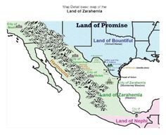The Book of Mormon geography LDS map #3 and lands with DNA evidence for Zarahemla, Cumorah, America, and Indians and the narrow neck and Mexico.