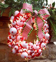 fishing bobbers wreath #Christmas  Good gift for a guy's Chistmas door.