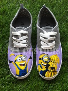 Minion Banana Shoes size 7  Despicable Me by 2ACustoms on Etsy, $60.00.....i wnt these so bad