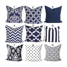 ***Mix and match these***BEST SELLING***coordinates. Use drop down menus to select pattern & sizes. Contact me for CUSTOM SIZES*** SIZE: I make all my covers to ensure a snug, professional fit for your pillow forms---please refer to sizing information below COLORS: Navy and white FABRIC: Medium weight 100% cotton PRINT: Same printed fabric front and back with an easy envelope enclosure on the back which is triple-stitched for durability. TO PURCHASE FABRIC SWATCHES, you may use this link…