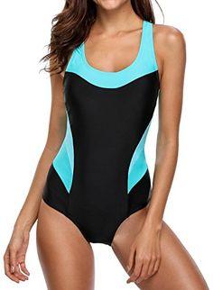 64f4b0a1ee BeatyIn Womens Athletic One Piece Swimsuit Colorblock Racerback Bathing Suit,  Black XL