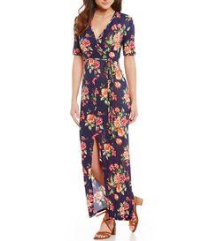 Stillettos FloralPrinted Wrap Maxi Dress #Dillards