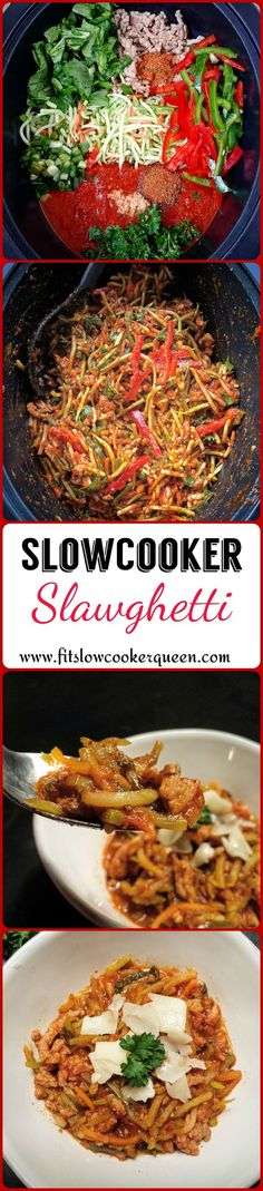 Slawghetti is broccoli slaw cooked in the slow cooker to a soft 'spaghetti' consistency. This is a great low-carb alternative to spaghetti.