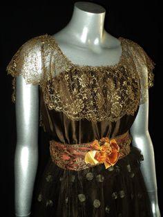 Antique 1920's Flapper Dress Lame Metallic Lace by Bellasoiree